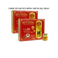 5 Hộp yến huyết đông trùng hạ thảo 15% (6 lọ/hộp) - Tặng 4 hộp yến huyết linh chi 15% (6 lọ/hộp) + 2 chai mật ong Honey An 380gr + 8 gói cháo yến Thiên Hoàng (hương vị ngẫu nhiên)
