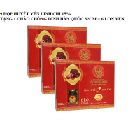 9 Hộp yến huyết linh chi 15% (6 lọ/hộp) - Tặng 1 chảo chống dính Hàn Quốc nắp kính 32cm + 6 lon yến